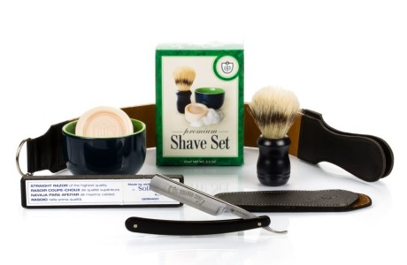 DOVO, GB Buckingham & Sons 506B 6-8 Col Conk Straight Razor with Full Shaving Set