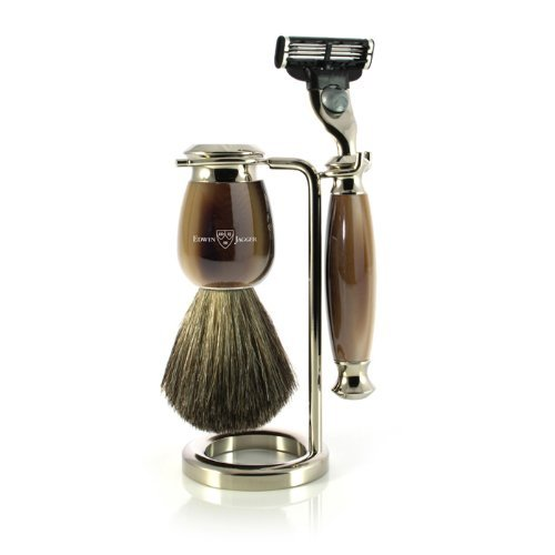 Edwin Jagger Simulated Horn and Nickel Shaving Set, Brown Cream
